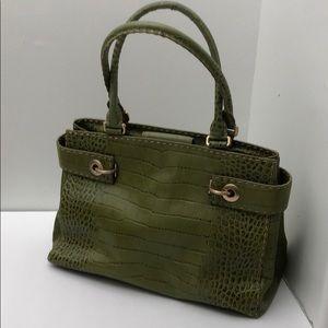 Ann Taylor Olive Croc. Embossed Leather Bag